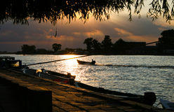 SUNSET Sulina town main chanel Stock Image