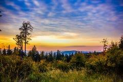 Sunset in Sumava forest. Czech Republic. Sunset in national park `Sumava forest`. Czech Republic stock photography