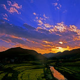 Sunset in summer. Slandscape sunset in summer,yunnan,china Stock Image