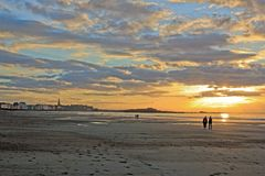 Sunset in summer on the beach and the city of St Malo (Brittany France) Stock Photography