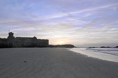 Sunset in summer on the beach and the city of St Malo (Brittany France) Royalty Free Stock Photo