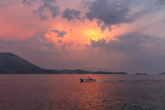 Sunset by summer holydays at the sea, Srebreno, Croatia Stock Photo