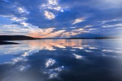 Sunset,Summer Landscape,Panorama.Beautiful Nature.Blue Sky,Amazing Colorful Clouds.Natural Background.Artistic Wallpaper.Lake,sun. Royalty Free Stock Images