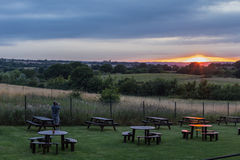 Sunset in the summer looking across Essex countryside. Royalty Free Stock Photo