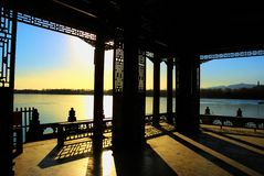Sunset in summer palace Stock Photo