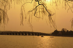 Sunset in the Summer Palace,Beijing,China. At sunset, visitors to the cruise ship enjoyed the beauty of the Summer Palace Royalty Free Stock Photography