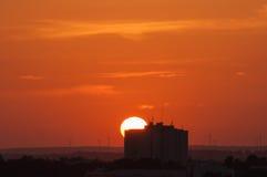 Sunset at summer in Portimao, Algarve, Portugal. Skyline Stock Photo
