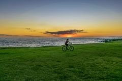 Sunset Scene at Coast, Montevideo, Uruguay Royalty Free Stock Photography