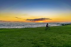 Sunset Scene at Coast, Montevideo, Uruguay Stock Photography