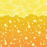 Sunset summer showers background. Vector illustration of a stylized summer showering weather with detailed rain drops and beautiful orange sky Stock Image