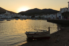 Sunset in a summer town of Costa Brava Royalty Free Stock Photos