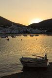 Sunset in a summer town of Costa Brava Stock Images