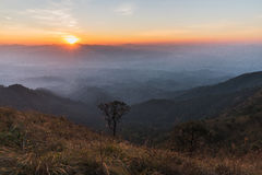 Sunset at summit. A large stone mountain, DOI nok in the National Park. DOI Luang district in the East side, adjacent to the West side, phayao, Lampang, next to Stock Image