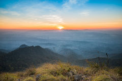 Sunset at summit. A large stone mountain, DOI nok in the National Park. DOI Luang district in the East side, adjacent to the West side, phayao, Lampang, next to Royalty Free Stock Photos