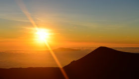 Sunset on the summit of Mauna Kea on the Big Island of Hawaii Stock Images