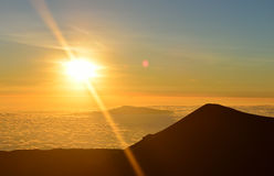 Sunset on the summit of Mauna Kea on the Big Island of Hawaii Stock Photography