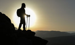 Sunset at the summit of the mountain&Climbers on summit Stock Image