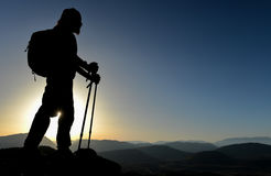 Sunset at the summit of the mountain. Struggle to achieve.sunset at the summit of the mountain Stock Photography
