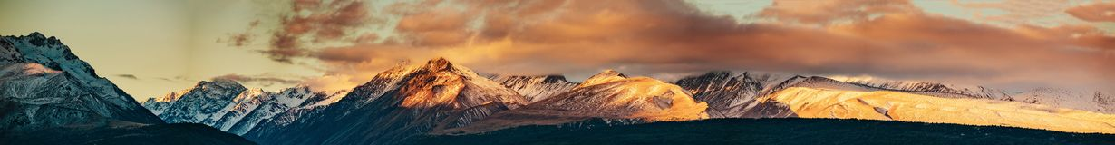 Sunset on the Summit of Mt. Cook and La Perouse in New Zealand royalty free stock image