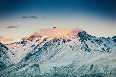 Sunset on the Summit of Mt. Cook and La Perouse in New Zealand stock photography
