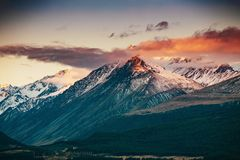 Sunset on the Summit of Mt. Cook and La Perouse in New Zealand stock photos