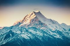 Sunset on the Summit of Mt. Cook and La Perouse in New Zealand stock images