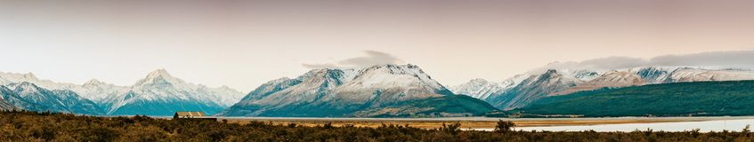 Sunset on the Summit of Mt. Cook and La Perouse in New Zealand royalty free stock photography