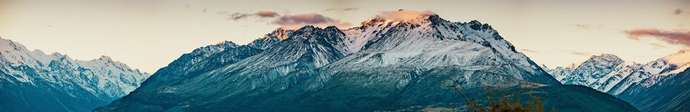 Sunset on the Summit of Mt. Cook and La Perouse in New Zealand royalty free stock images