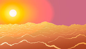 Sunset. Sun above the clouds. Vector illustration Stock Photo