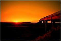 Sunset, Sun, Bridge, Red Royalty Free Stock Photo