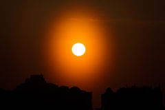Sunset sun galo in Moscow Stock Photo