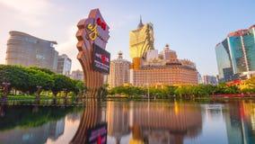 Sunset sun light macau famous hotel pond panorama 4k time lapse china stock video