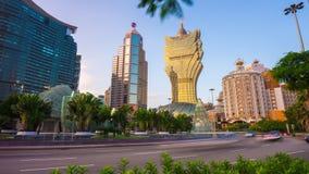 Sunset sun light macau famous hotel traffic street panorama 4k time lapse china stock video