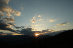 Sunset and sun in Pyrenees Stock Photos