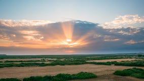 Romance sunset with sun rays, 4k time lapse stock footage