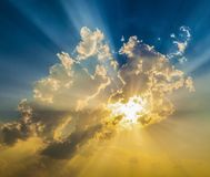 Sunset with sun rays. In spectacular colors stock photos