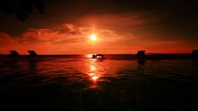 Sunset. Sun sea shadow water relax resort hotel Stock Photography
