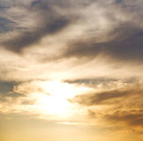 sunset sun   in the sky of world cloudy fluffy cloudscape Royalty Free Stock Photography