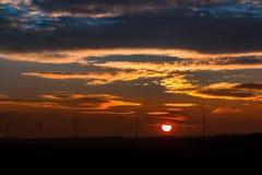 Sunset, Sun, Windräder, Clouds Stock Image