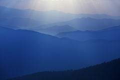 Sunset with Sunbeams from Clingmans Dome Royalty Free Stock Image