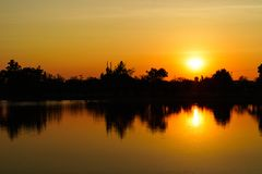 Sunset or sundown on the river. stock photography