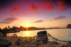 Sunset at the Sungai Kemaman Royalty Free Stock Images