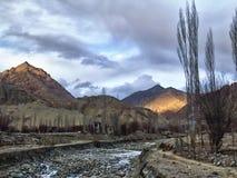 Sunset sunlight among the rocks. Himalayas, Leh, Northern India Royalty Free Stock Images
