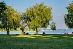 Resting on the shores of Lake Balaton. stock image