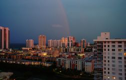 Sunset on Sunny Isles Beach. After thunderstorm, Florida Stock Photo