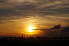 Sunset. Sunny landscape at sunset, way out of the city royalty free stock photography