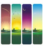 Sunset and sunrise vector illustration