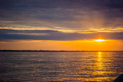 Sunset sunrise at Amazon River Jungle Royalty Free Stock Photography