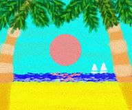 Sunset Sunrise Beach Landscape Painting Royalty Free Stock Photography