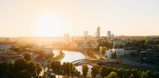 Sunset Sunrise Cityscape Of Vilnius, Lithuania In Stock Photography